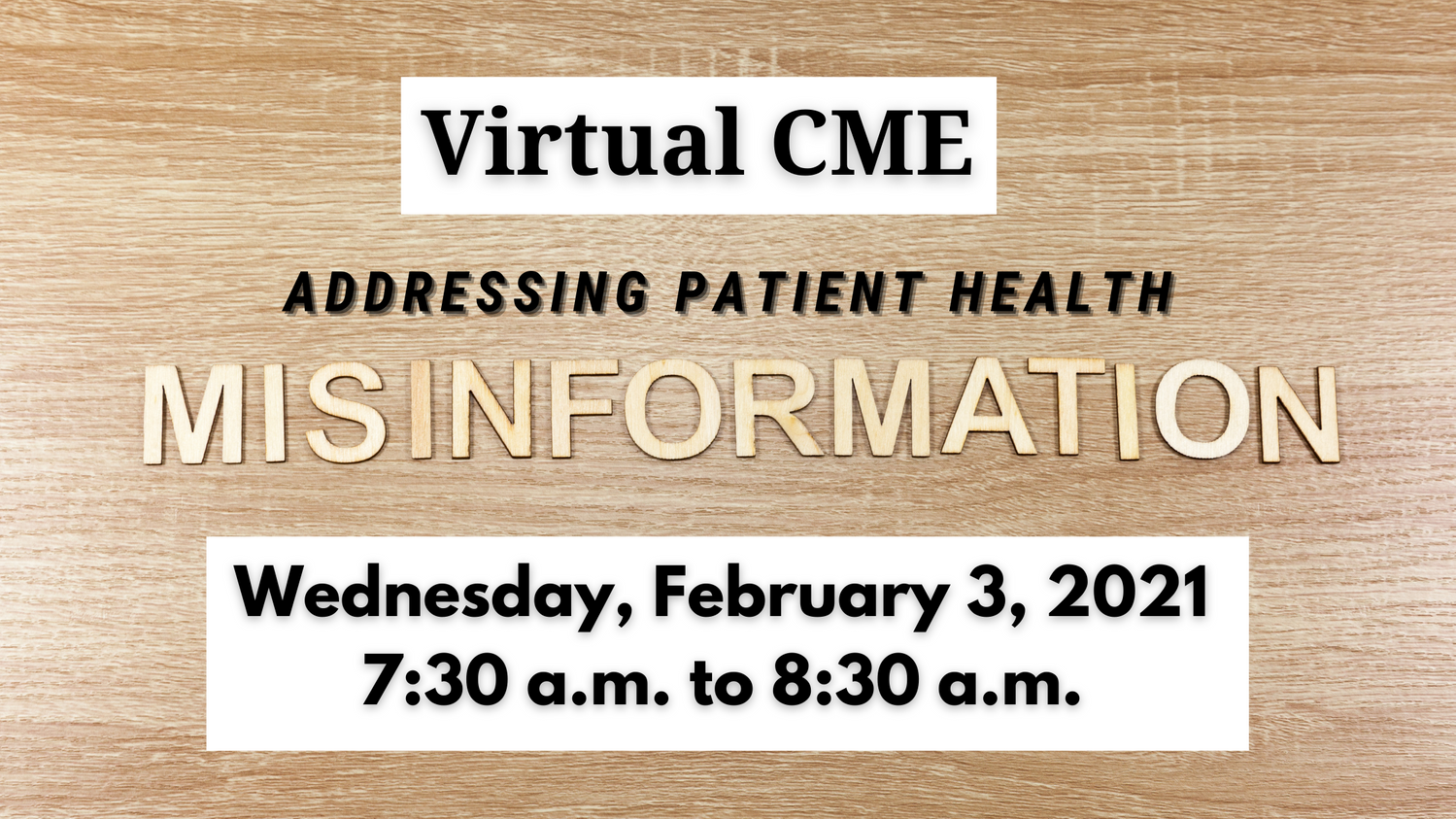 A header image with the title and time of the upcoming virtual CME