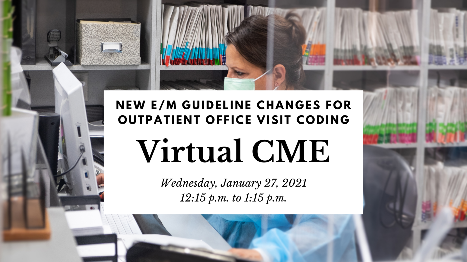 A header image with a background photo and basic information about the Virtual CME